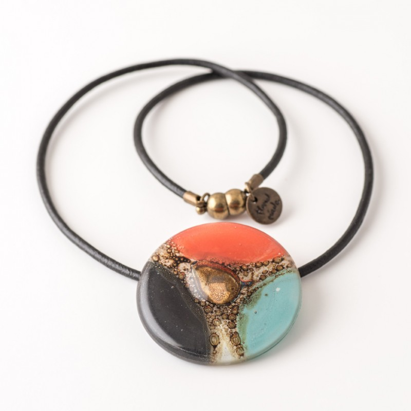 Mallorca Turquoise, Red & Black Bronze fused Glass Necklace by Cristalida