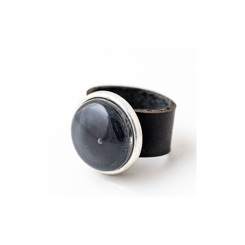 Soul Black Glass & Leather Round Ring by Cristalida