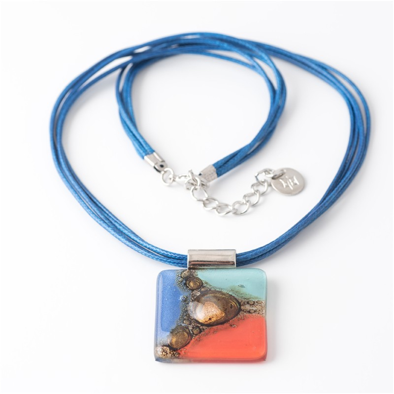 Cuba Blue, Red & Turquoise Bronze fused Glass Necklace by Cristalida