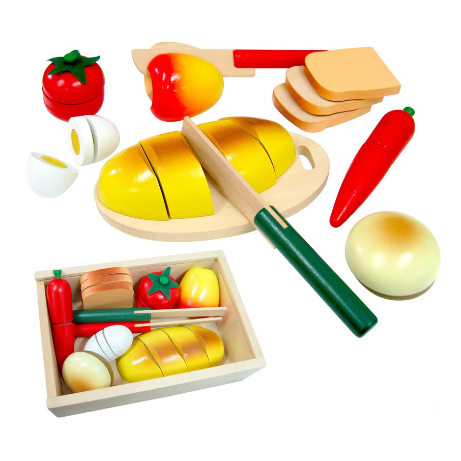 Wooden Cutting Velcro-ed Bread & Food Set