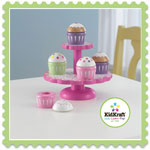Wooden cupcake stand with cupcakes by Kidkraft