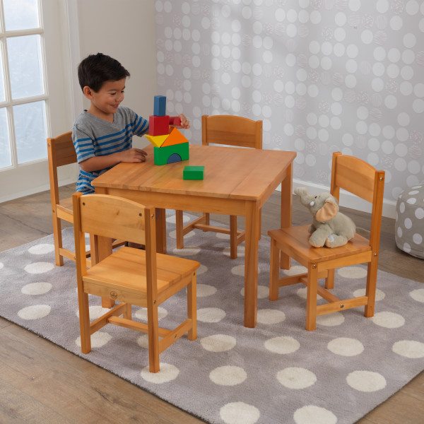 Wooden Kidkraft Farmhouse Table & 4 Chair set ~ Natural
