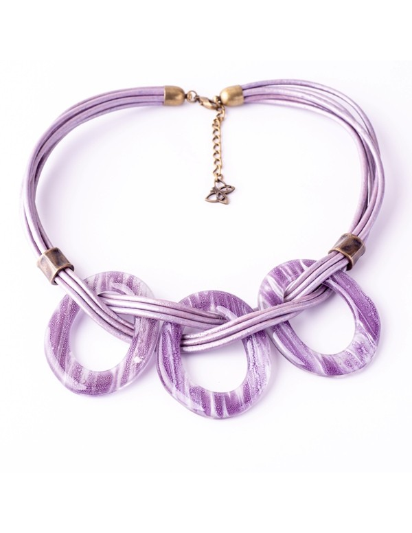 Malala Violet Leather & Glass Necklace by Cristalida