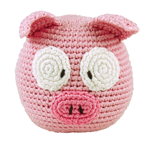 Dandelion handcrafted rolypoly pig rattle