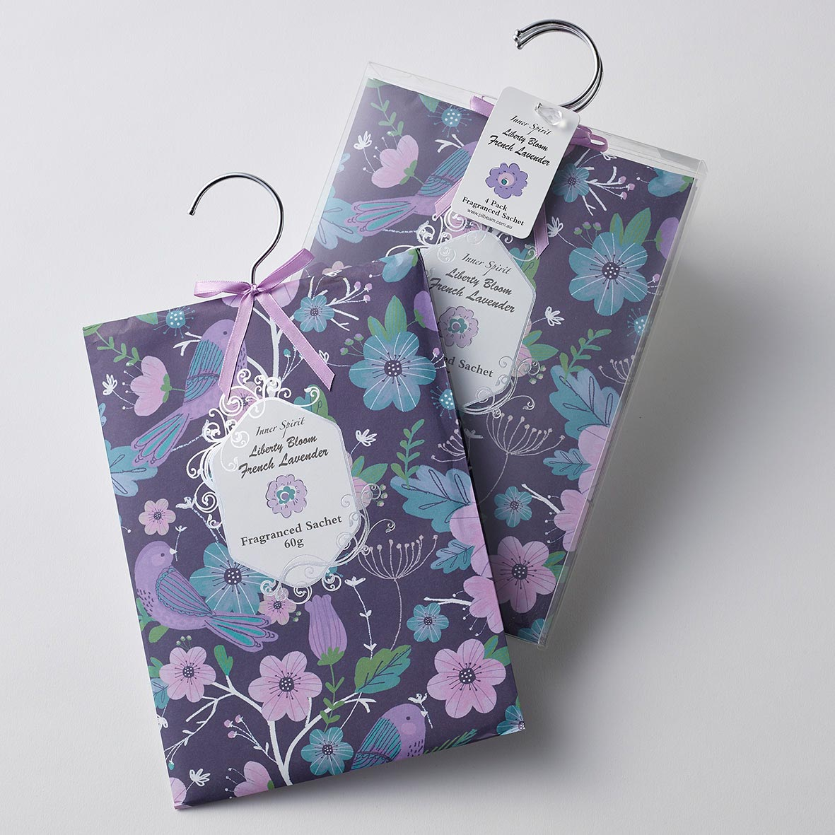 Liberty Bloom Dark ~ French Lavender Scented Hanging x 4 Sachets by Pilbeam