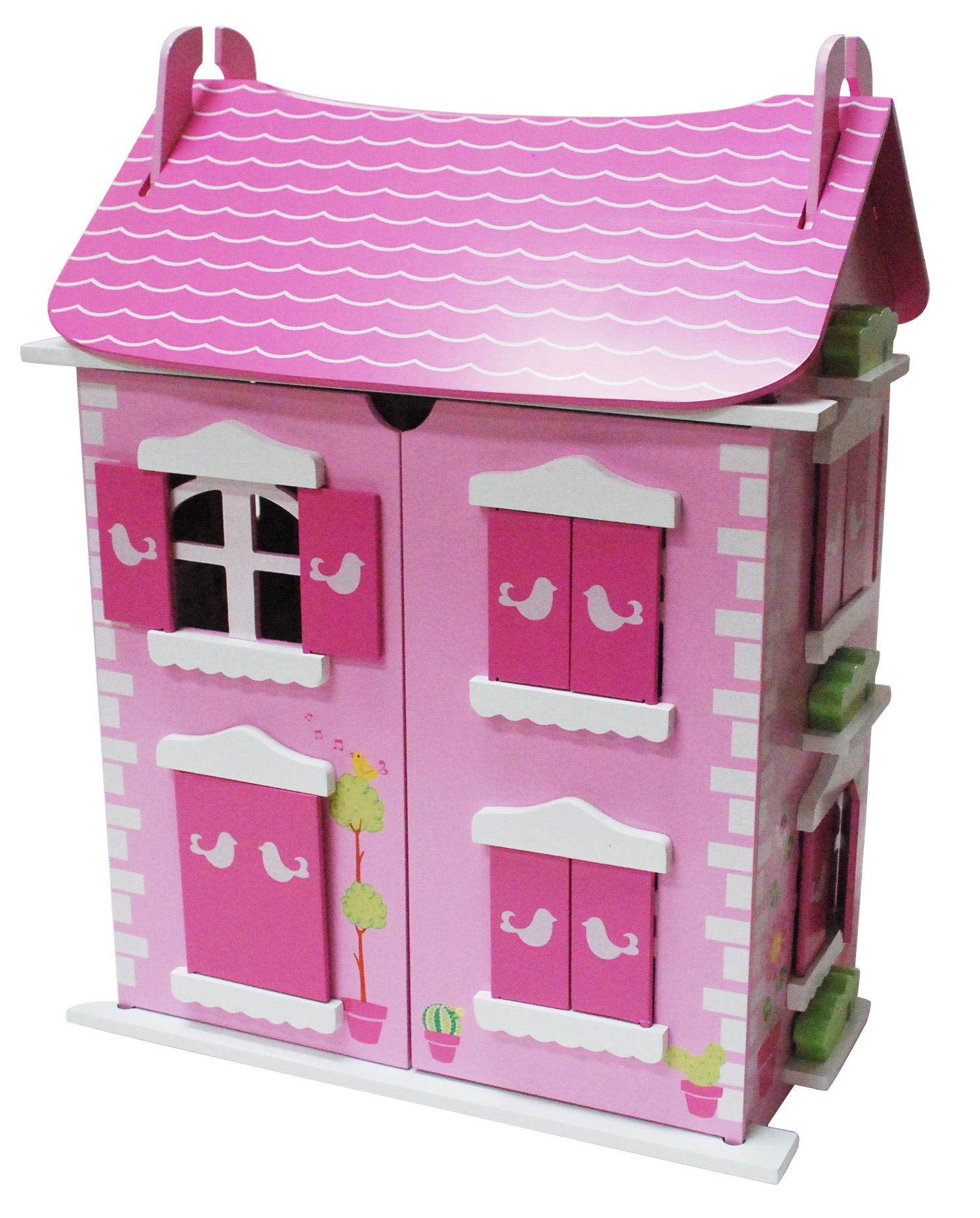 Wooden Doll house with 16 pcs of furniture