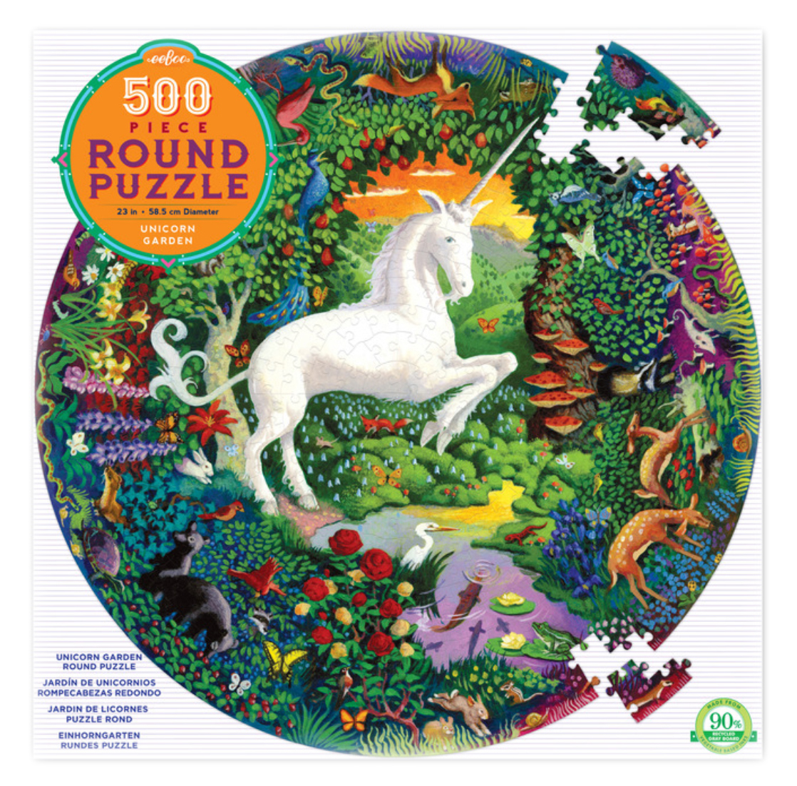 Unicorn Garden 500 Piece Round Puzzle by eeboo