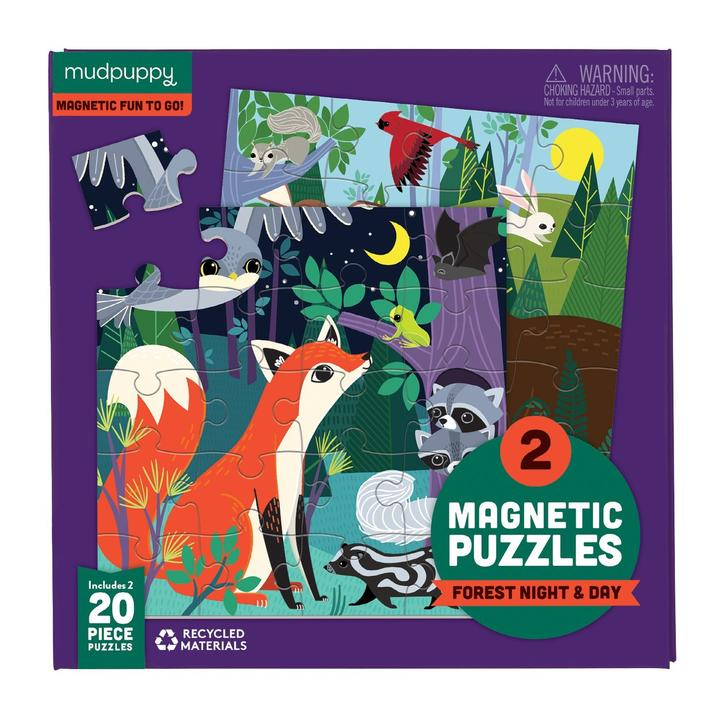 Magnetic Puzzle ~ Forest Night & Day 2 x 20 pieces by Mudpuppy 4+