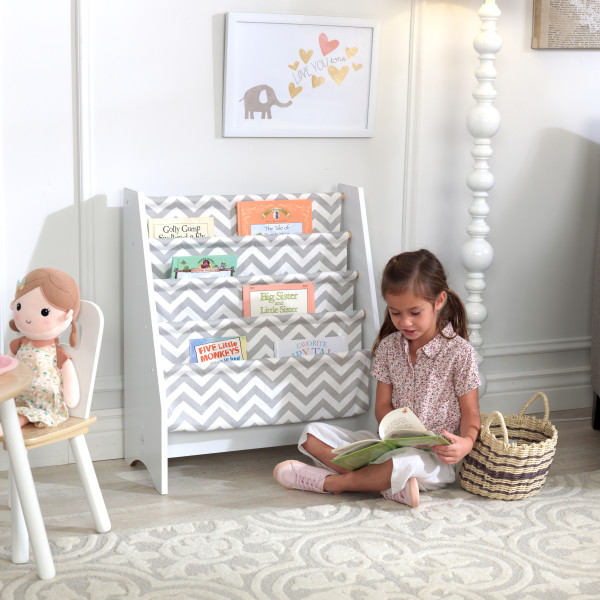 Wooden White Sling Bookshelf by Kidkraft -- Gray Pattern