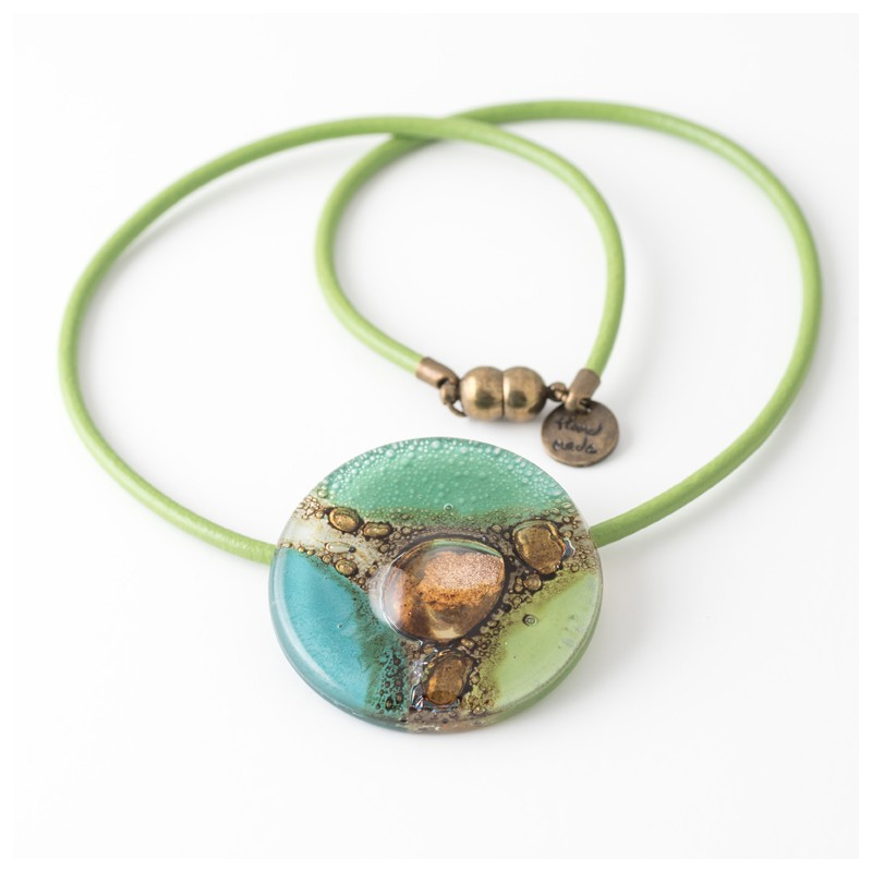 Mallorca Green & Turquoise Bronze fused Glass Necklace by Cristalida