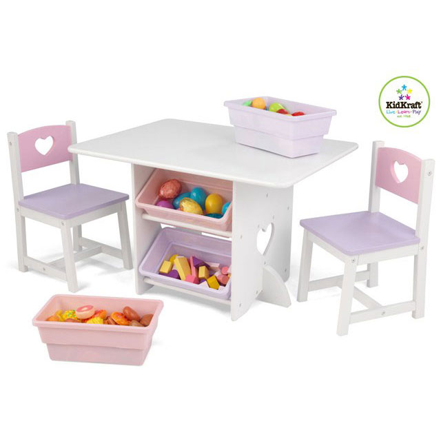 Heart Table & 2 chair set with Pastel Bins by Kidkraft