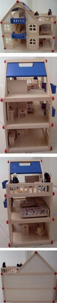 Wooden Modern 3 Level Blue Doll House