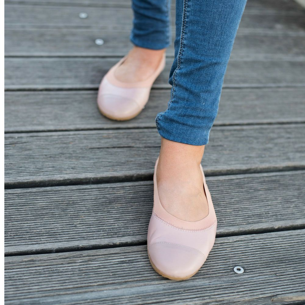 Ladonna Blush & Pale Pink Leather foldable Ballet Shoes by Cammino