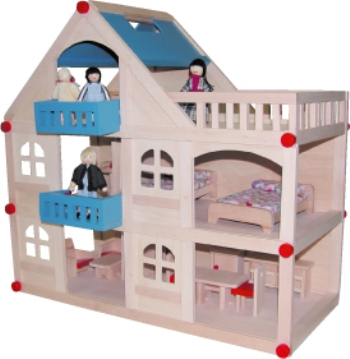 Wooden 3 level doll house