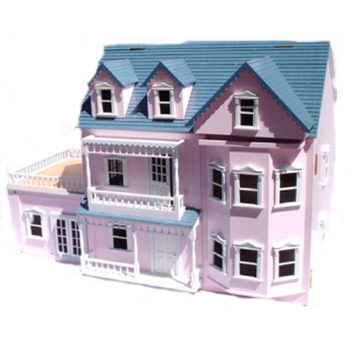Large Wooden Pink Victorian Doll House