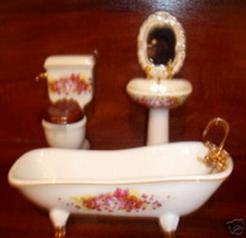 Miniature Porcelain vintage Floral Design Bathroom
