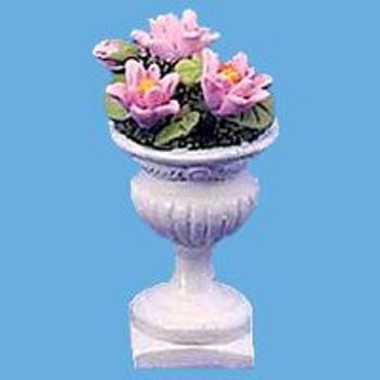 Miniature -- Edwardian Urn with Pink Water Lillis