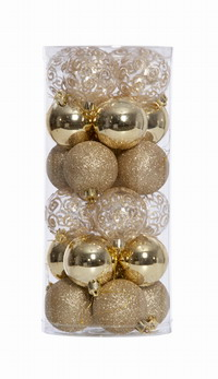 24 ASSORTED GOLD CHRISTMAS BALLS