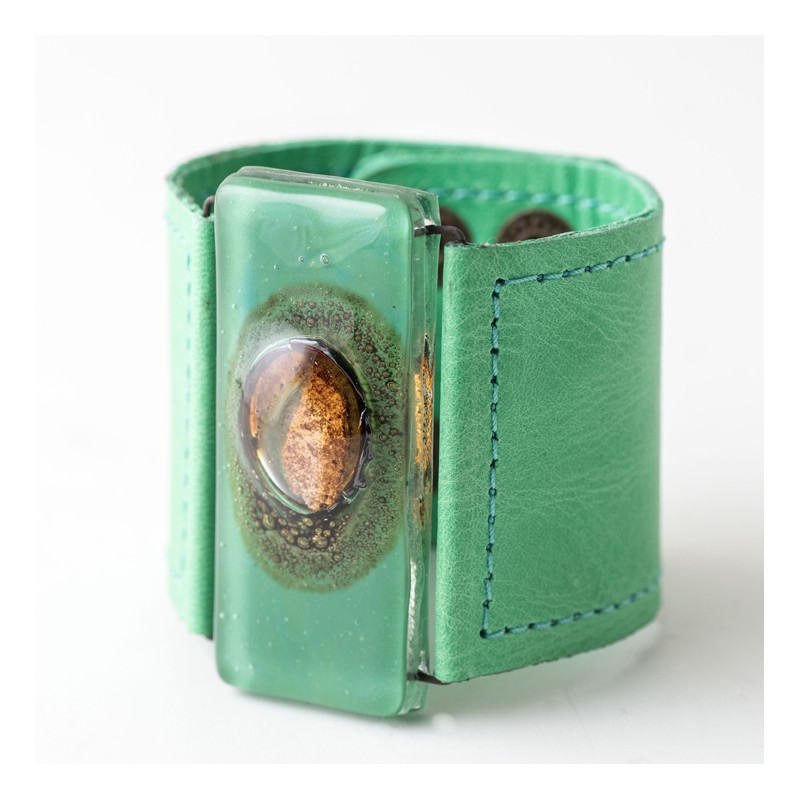 Green Bronze Glass and Leather Cuff by Cristalida