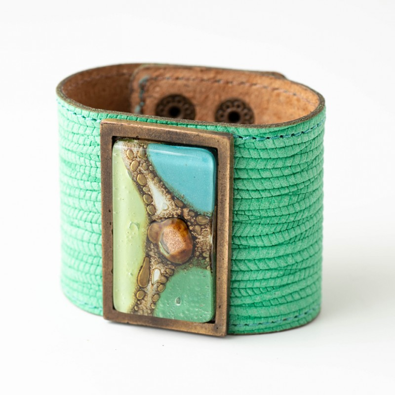 Green Tones & Turquoise Bronze Glass and Leather Cuff by Cristalida