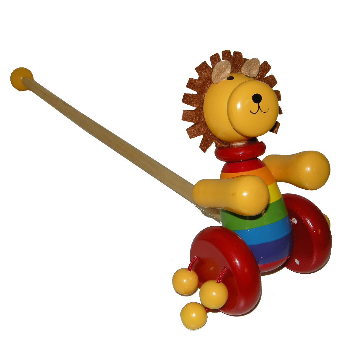 Wooden lion push-a-long