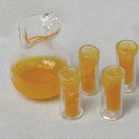 MINIATURE -- ORANGE JUICE JUG &  4 TUMBLERS