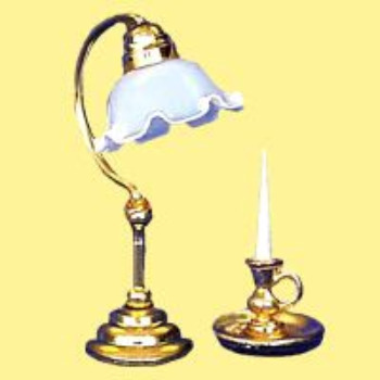 MINIATURE -- DESK LAMP & CANDLE HOLDER