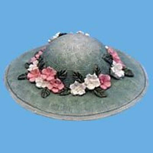 Miniature -- Hat - Green with Floral Trim