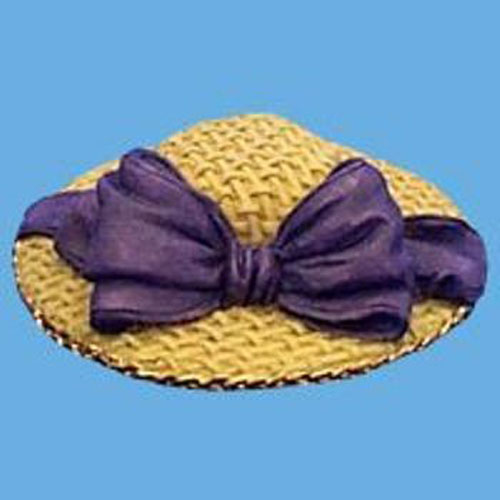 Miniature  Hat - Straw with large Purple Bow