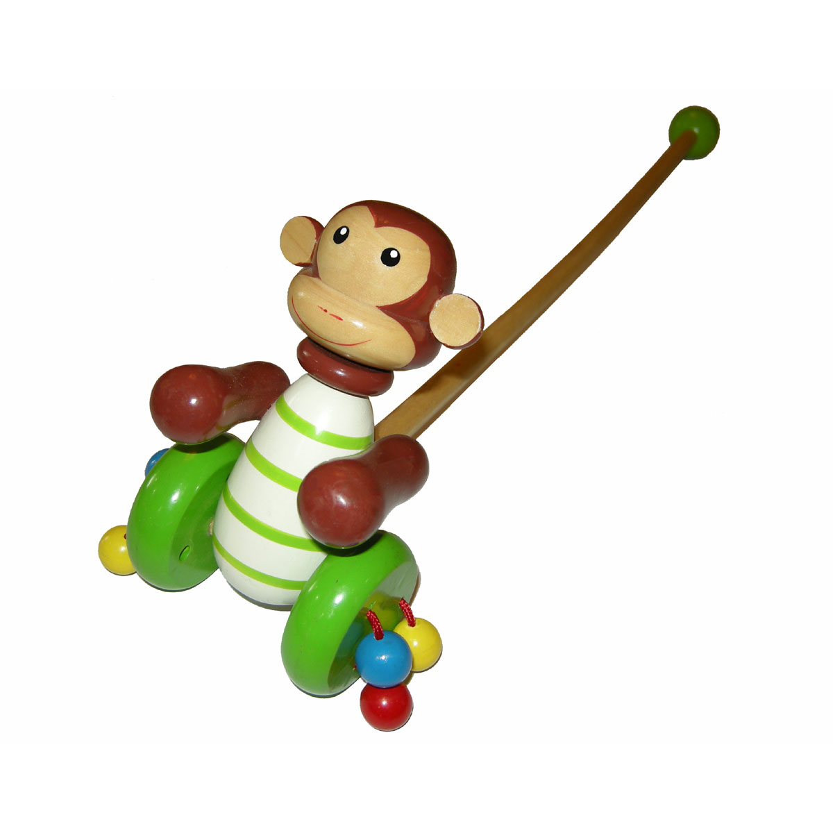 Wooden monkey push-a-long