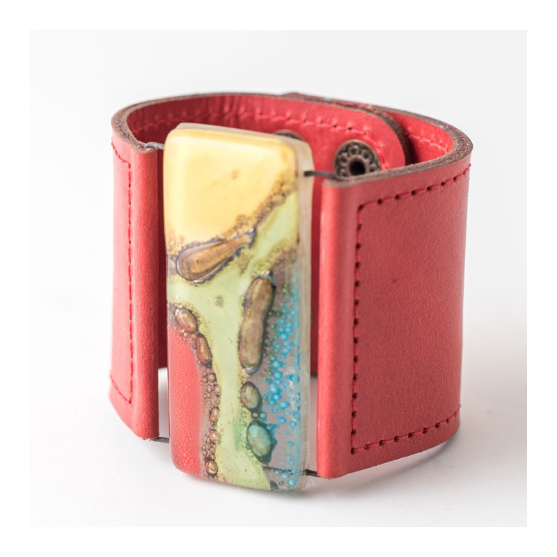 Multi Colour Marbled Glass and Red Leather Cuff by Cristalida