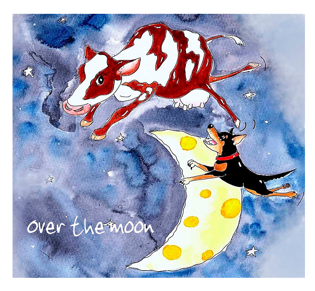 Australian Greeting Card ~ Over the Moon