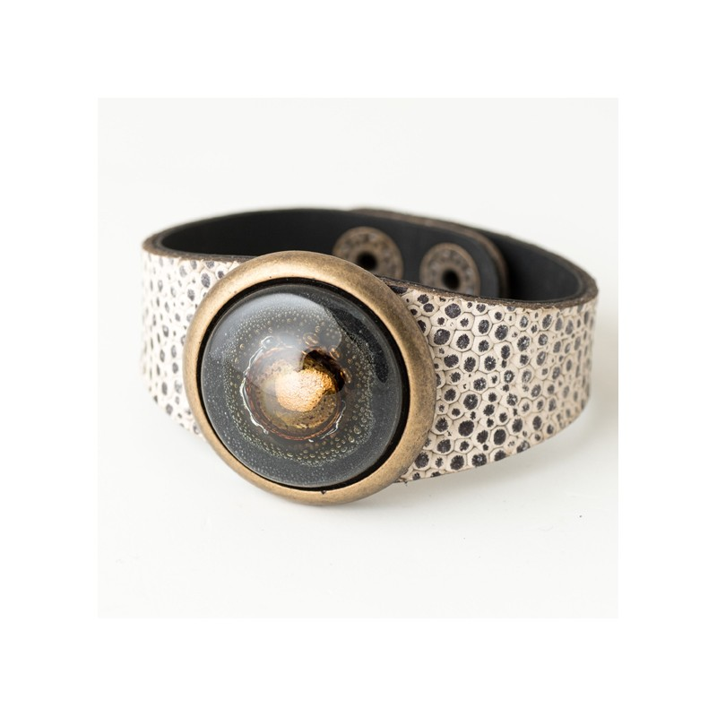 Paris Glass and Leather Cuff, Bracelet by Cristalida in Black tones