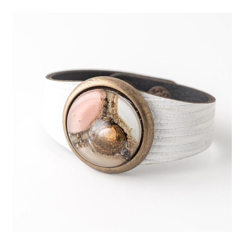 Paris Glass and Leather Cuff, Bracelet by Cristalida in Pink & Natural tones