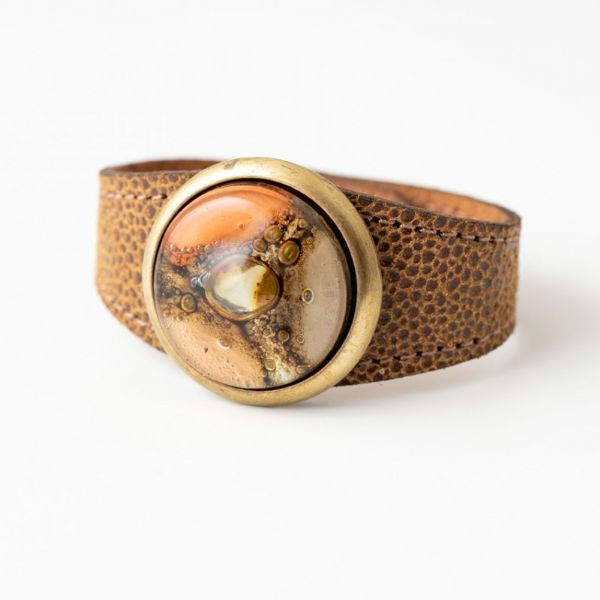 Paris Glass and Leather Cuff, Bracelet by Cristalida in Orange & Natural Tones