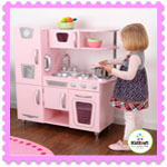 Wooden Pink retro Vintage Kitchen