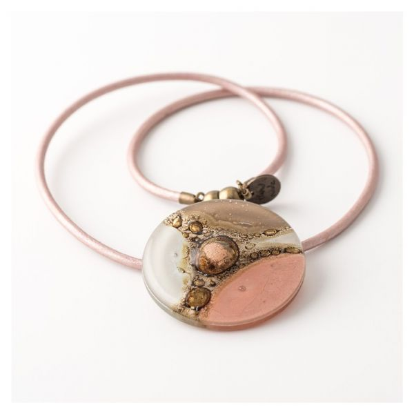 Mallorca White, Pink & Natural tones Bronze fused Glass Necklace by Cristalida
