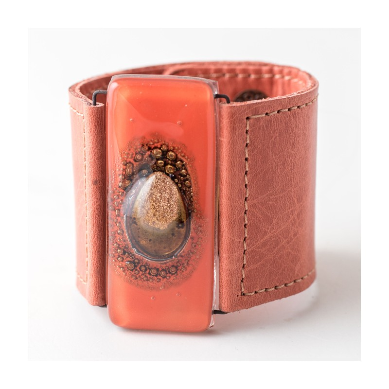 Orange Bronze Marbled Glass and Leather Cuff by Cristalida