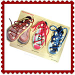Wooden shoe lace puzzle