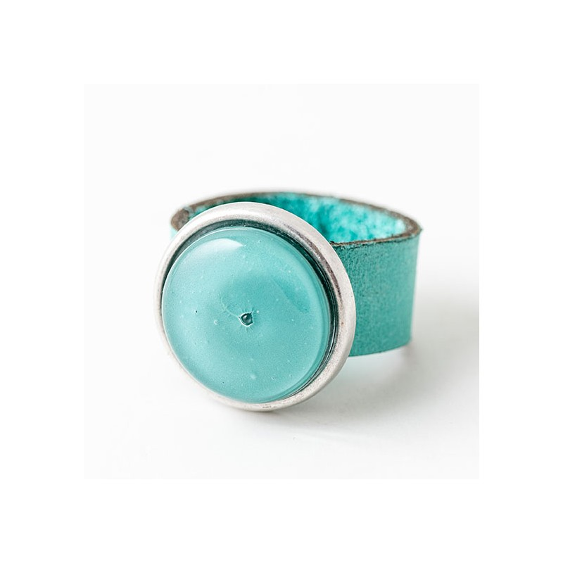 Soul Turquoise Glass & Leather Round Ring by Cristalida