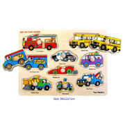 Wooden Transport Knob Puzzle by Fun factory