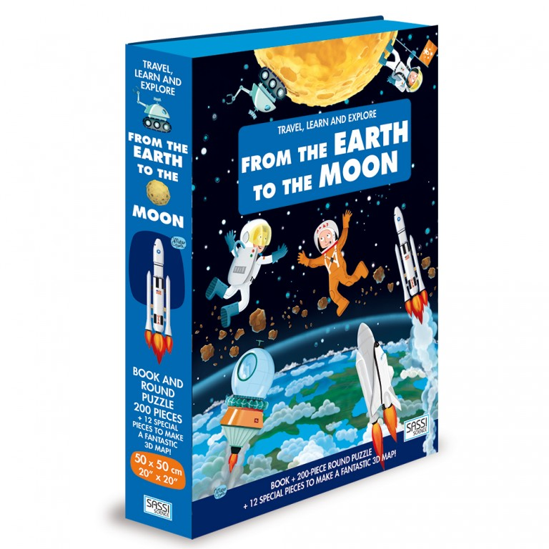 Sassi Travel, Learn and Explore - Book and 3D Puzzle Set - From the Earth to the Moon 200 pcs 6+