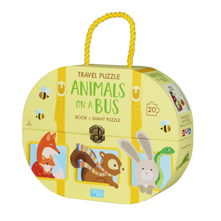 Sassi Travel Giant Puzzle and Book - Animals on a Bus, 20 pcs 3+