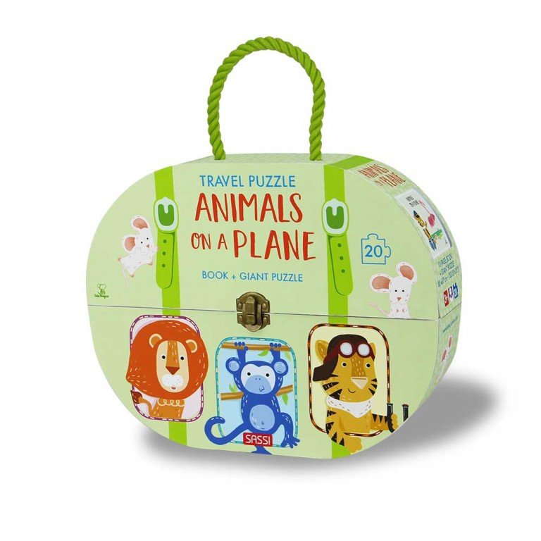 Sassi Travel Giant Puzzle and Book - Animals on a Plane, 20 pcs 3+