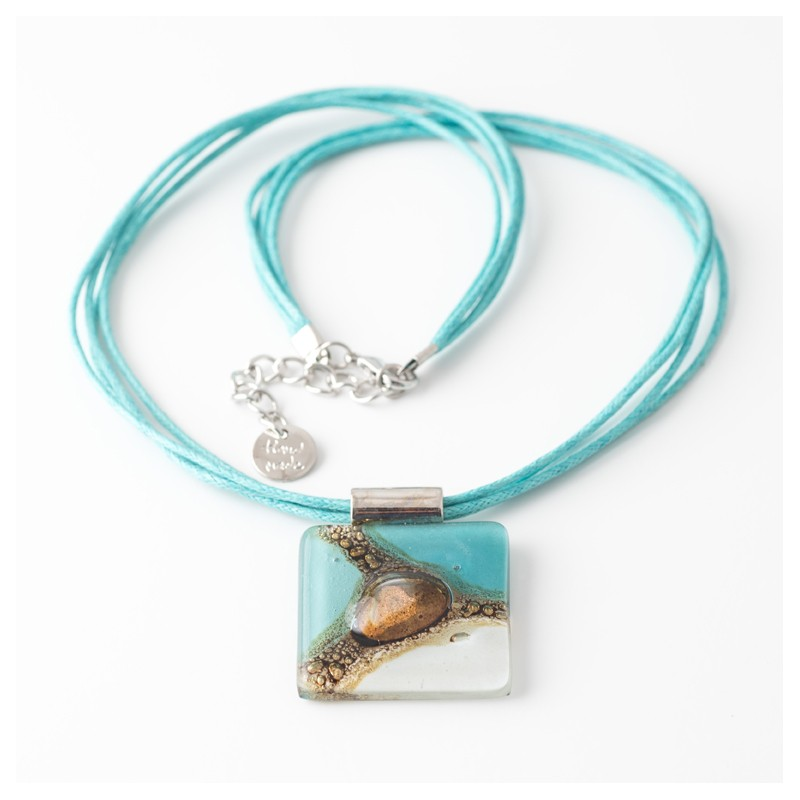 Cuba White, Blue & Turquoise Bronze fused Glass Necklace by Cristalida
