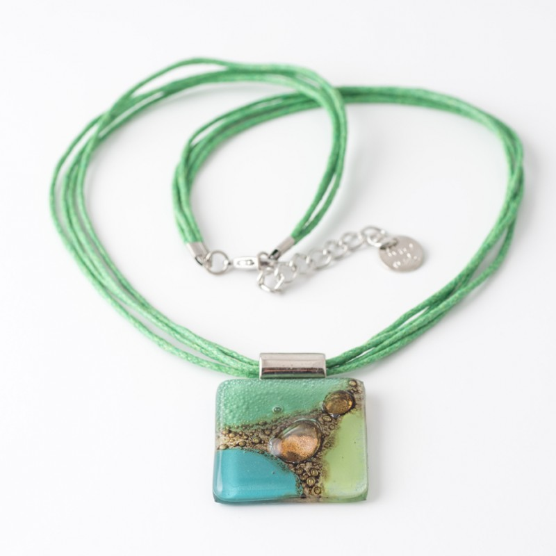 Cuba Green & Turquoise Bronze fused Glass Necklace by Cristalida