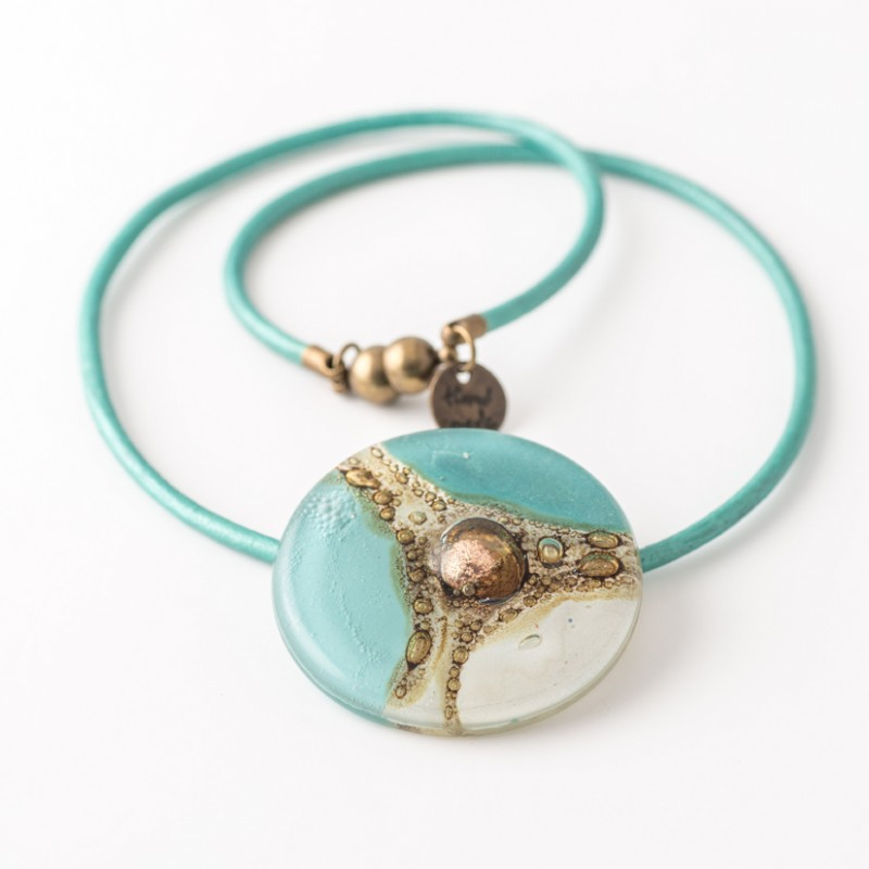 Mallorca White & Turquoise Bronze fused Glass Necklace by Cristalida