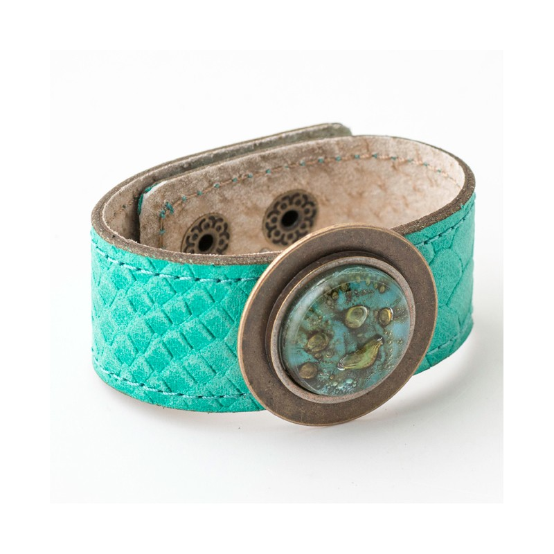 Blondie Turquoise Bronze Glass and Leather Cuff by Cristalida