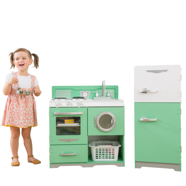 Kidkraft Vintage Homestyle 2 Piece Kitchen in white & mint