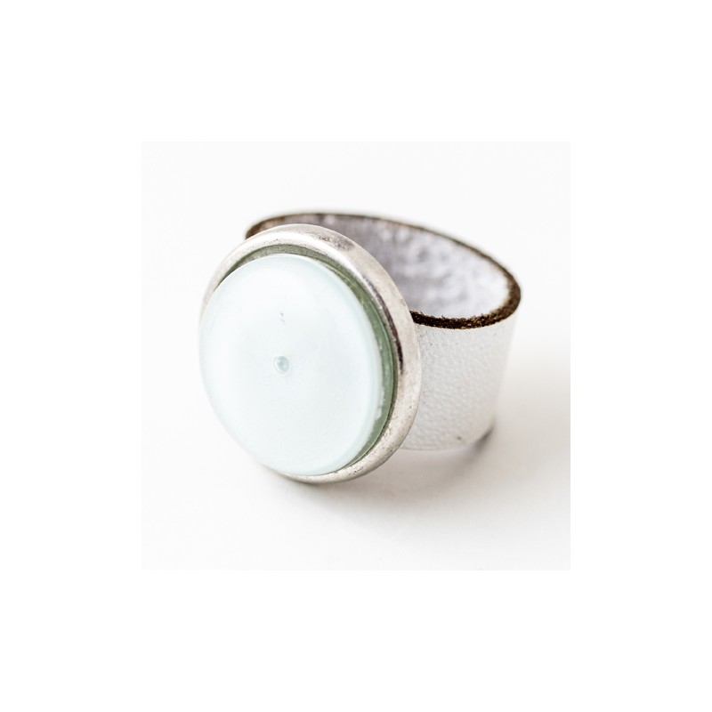 Soul White Glass & Leather Round Ring by Cristalida